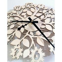 Sentop - Wanduhr aus Holzsperrholz Blumen PR0343 und schwarz