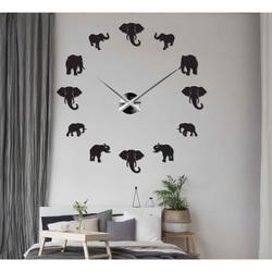 Sentop - Moderne Wanduhr zum Aufkleben an der Wand aus Elefanten und Gold SZ070