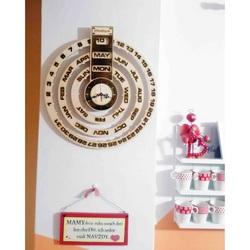 Stylesa - Holzkalender + Holz gravierte Uhr JOGBEL II INGLIS PR0161 Pappellicht