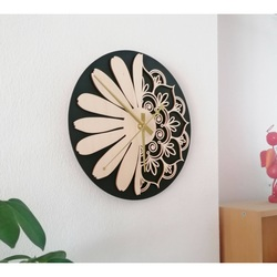 Sentop - Holz wanduhr Blume des Lebens Modell: MDF schwarz / Pappel Sperrholz