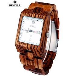 Holz Armbanduhr dunkelrot gerippt. Bewell