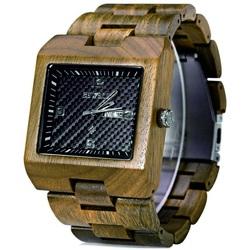 Wooden wristwatch ribbed ocher Bewell