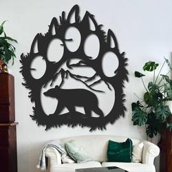 Großes Holzbild an der Wand eines Bärenabdrucks - SOPORTAR | SENTOP