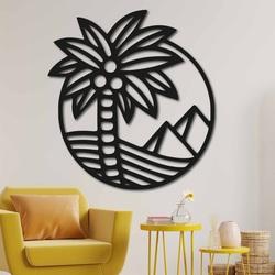 Holzgemälde an der Wand einer Palme am Strand - MALLAWI | SENTOP