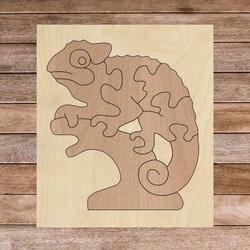 Drevená  dvojfarebná drevená montessori vkladačka pre deti - CHAMELEÓN BUK   SENTOP