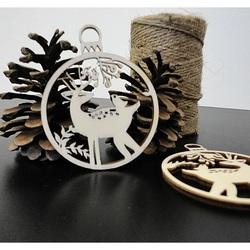 Hirsch Weihnachtsdekoration aus Holz, Größe: 79x90 mm PR0009