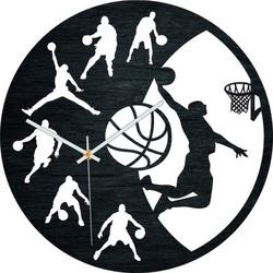 Holzuhr - Basketball - Schwarz und bunt | SENTOP PR0449