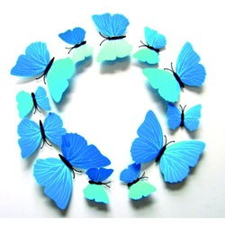 3D Klebe Schmetterlinge - SKI BLUE, 1 Packung enthält 12 Stück