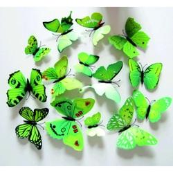 3D Dekorative Schmetterlinge grune - 1 Packung enthält 12 Stück
