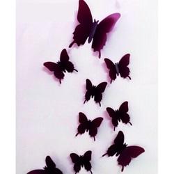 3D Aufkleben Schmetterlinge - Brown Schokolade - 1 Packung enthält 12 Stück