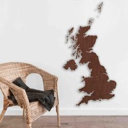 Fából készült térkép a falon Egyesült Királyság | SENTOP
