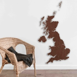Wooden map on the wall United Kingdom | SENTOP