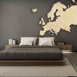 Drewniana mapa na ścianie Europy | SENTOP