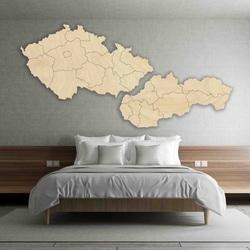 Wandkarte - Tschechien und Slowakei - Holz