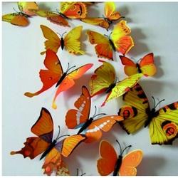 3D Aufkleber - Gelb farbige Schmetterlinge - 1 Packung enthält 12 Stück