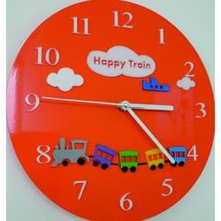 Wandtattoo Uhr Kinder Wanduhr Welt. Farbe orange. Größe 30 x30 cm