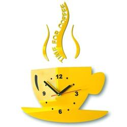 Wanduhr Sonnenblume Tasse Kaffee. Gelbe Farbe. Größe 36 x 32 cm