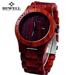 Holz Armbanduhr rot-Bewell