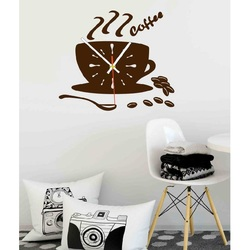 Wandtattoo Uhr Farbe Wanduhr VESTA, Farbe: dunkelbraun