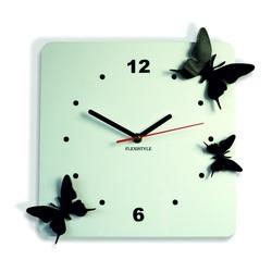 Kunststoff-Wanduhr Schmetterlinge, Farbe: weiß, schwarz, 30x30 cm Z29 STYLESA