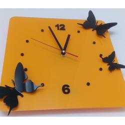 Moderne Wanduhr aus Kunststoff-Schmetterlinge, Farbe: gelb, schwarz, Größe: 30x30 cm