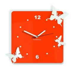 Moderne Wanduhr aus Kunststoff-Schmetterlinge, Farbe: orange, weiß, Größe: 30x30 cm