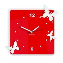 Moderne Wanduhr aus Kunststoff-Schmetterlinge, Farbe: rot, weiß, Größe: 30x30 cm