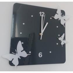 Moderne Wanduhr aus Kunststoff-Schmetterlinge, Farbe: grau, weiß, Größe: 30x30 cm