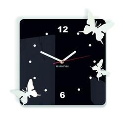 Moderne Wanduhr aus Kunststoff-Schmetterlinge, Farbe: schwarz, weiß, Größe: 30x30 cm
