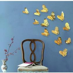 Moderner Wandaufkleber - goldener Schmetterling, 1 Set - 12St