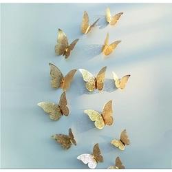 Trendiger Wandaufkleber-goldener Schmetterling, 1 Satz - 12pcs