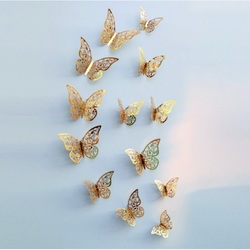 Stilvolle Wandaufkleber -gold Schmetterling, 1 Set - 12St
