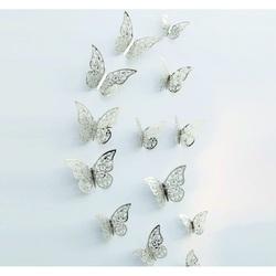 Trendy Aufkleber- Schmetterling Silber, 1 Set - 12St
