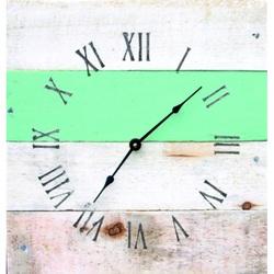 Kreative Uhr Holz in blau Umarmung