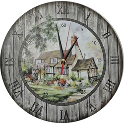 Wanduhr aus Holz - Hütte, Kreis Fi: 30cm