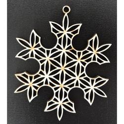 Holz Weihnachtsschmuck-Schneeflocke, Größe: 61x61mm