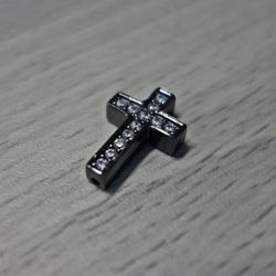 Metallkreuz mit Zirkonen - schwarz