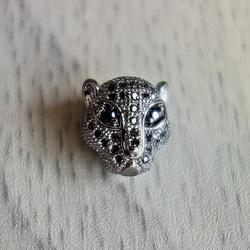 Metall-Leopard mit Zirkonen - dunkel