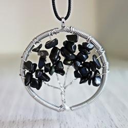 Edelstein Anhänger - Baum - schwarz Onyx
