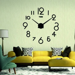 Wandtattoo Uhr Schriften Moderne Wanduhr Habicht. Farbe schwarz Aufkleber an der Wand.