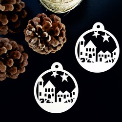 Christmas decoration made of wood - Landscape, size: 79x90 mm