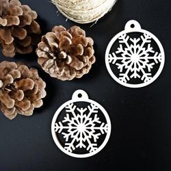 Karácsonyi fa dekoráció - Hópehely, méret: 79x90 mm