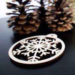 Holzdekoration für Weihnachtsbaum - Schneeflocke, Größe: 79x90 mm