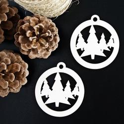 Dřevěná ozdoba Vánoční stromek, rozměr: 79x90 mm