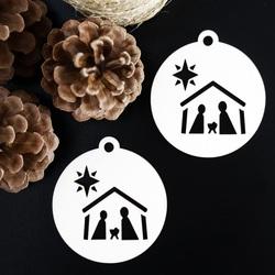 Vintage Ornament für Weihnachtsbaum - Bethlehem, Größe: 79x90 mm