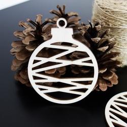 Dekoration aus Holz-Weihnachtskugel, Größe: 79x90 mm