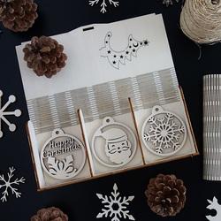 Set mit schönen Weihnachtsschmuck aus Holz, 1 Set-18 Stück