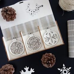 Sada drevených dekorácií na Vianoce, 1 sada-18 kusov KVET