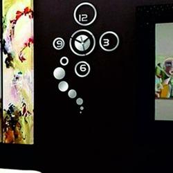 Wandtattoo Uhr selbstklebende Wanduhr mit Spiegel HROZIENKO