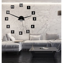 Großes Wanduhr-Quadrat (Uhr auf Plastikwand) 2D DEKOR
